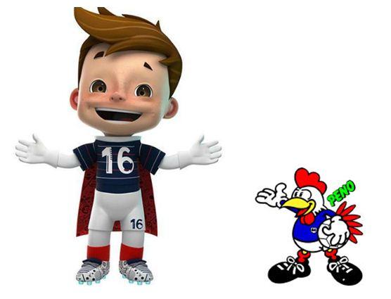 Péno, mascotte de l'EURO 1984 présente Super Victor, mascotte de l'EURO 2016